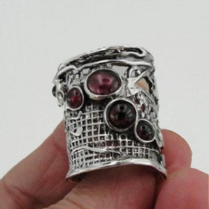 Wide Sterling Silver Garnet stone 925 Ring