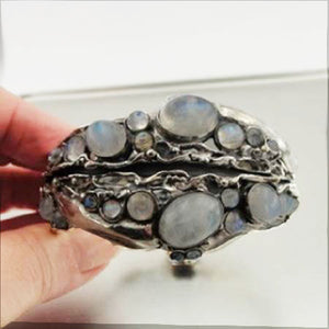 Moonstone Wide Sterling Silver Bracelet (h 313b)