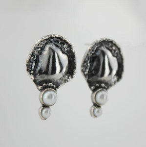 Hadar Jewelry Pomegranate earrings 925 sterling silver with Pearls