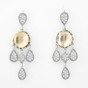 Chandelier earrings with Sterling silver, gold and White Zircons