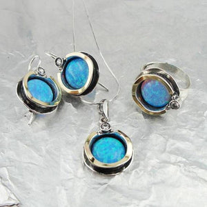 Round shape opal pendant Solid Sterling silver Base Decorated with Yellow Gold