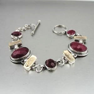 Natural RUBY Silver and Gold Bracelet