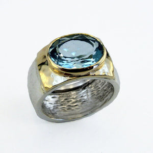 9k Yellow Gold Sterling Silver Blue Topaz Ring