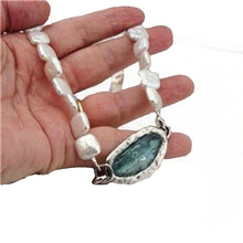 Genuine antique 2000 years old roman glass inlaid in solid silver artistic pendant and genuine natural oblong Pearls