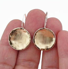 Round Solid Silver Earrings Decorated With A Brush Texture Yellow Gold