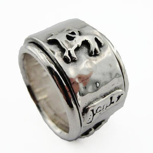 Sterling silver wide swivel band ring decorated with the Sagittarius sign symbol