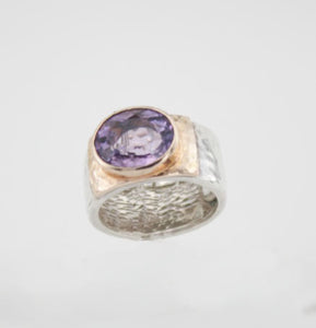 Hadar Jewelry Handmade 9k Rose Gold 925 Silver Amethyst Ring