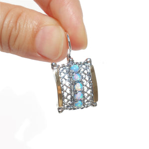 Rectangle Silver Gold Earrings Decorated With Mosaic Opal
