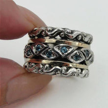 Wide and Chunky swivel Ring , made of Sterling silver, Yellow Gold and blue topaz zircon, ready to made