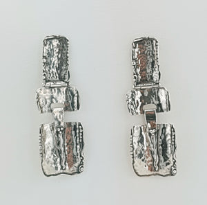 Hadar Jewelry Handmade Artistic and big 925 Sterling Silver Stud Earrings