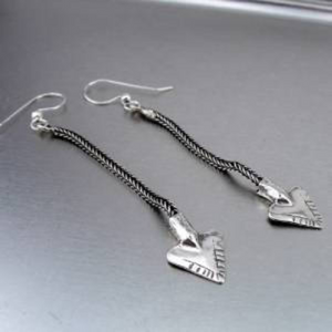 Hadar Jewelry Handmade Dangle Long 925 Sterling Silver Arrow Earrings (H)