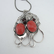 Sterling Silver Cherry Quartz and Garnet Pendent (H 4016)