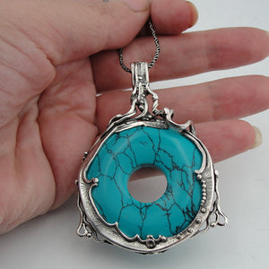 Turquoise 925 Silver Pendant ( h 494)