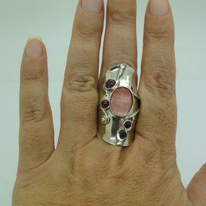 Cherry Quartz Sterling Silver Ring (174)