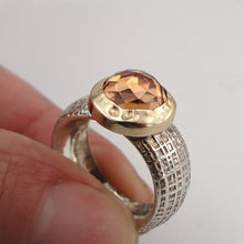 Champagne Quartz Silver Ring With 9K Gold  (sp 101)
