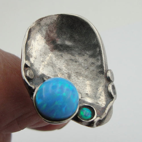 Sterling Silver Opal Ring 8mm lab created Opal (147)