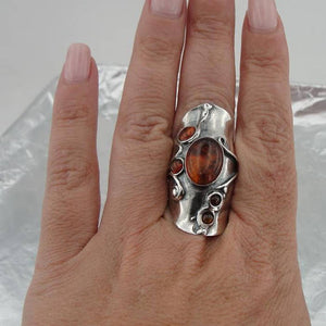 Great Handcrafted 925 Sterling Silver Garnet woman unique Ring , Natural Amber Stone Ring, Red Stone Ring, Birthday Gift (h 174)