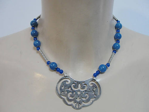 Unique Handmade Fine Sterling Silver blue agat stones Necklace , a classic gift (n 4004)