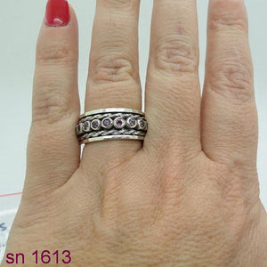 Handmade Art Swivel 925 Silver 925 , garnet inlad silver, ring studded swivel ,