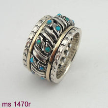 Swivel Silver & 9K Gold Ring with Opal  (sn 1470r)
