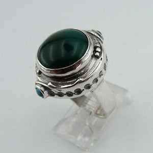 Hadar Jewelry Handcrafted 925 Sterling Silver Green Agate Ring size 8.5 , Round Ring, Green Stone Ring, Ready to Ship, Agate Ring (H 156)