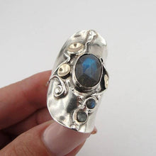 Labradorite Ring, Handmade 9K Yellow Gold 925 Sterling Silver Ring
