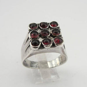 Hadar Jewelry Handcrafted Sterling Silver Garnet Ring size 10, Red stone 925 Silver ring, January Birthstone, Birthday gift, Everyday (h