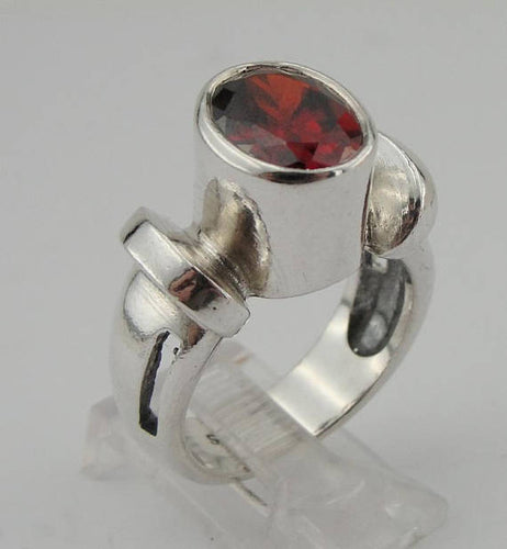 Handmade 925 sterling & Garnet 10mmX8mm, Cz ,(sp 1)