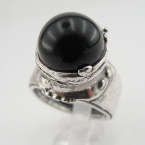 Hadar Fabulous Large Handmade Sterling Silver Onix Ring Size 7 And Can Hadar Jewelry