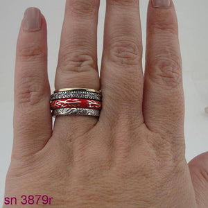 Fabulous Handmade Silver, Swivel Ring ,925 Sterling silver ring with red ceramic rings, rotating,ring inlad in zircon