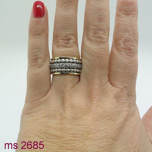 Swivel Silver & 9k Gold With Zircon Ring