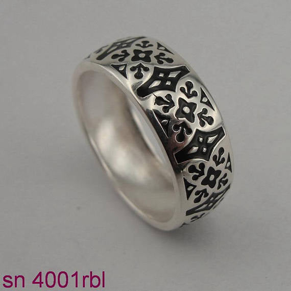 Handmade Sterling Silver Ring Filed with Black Ceramic