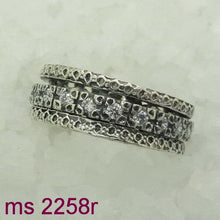 Handmade Art Swivel ring 925 Silver ,zircon , on the sides silver rings , ring in center studded zircons spinning , (sn 2258r