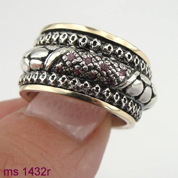 9K Yellow Gold & 925 Silver Swivel Ring with Red Zircon (sn 1432)