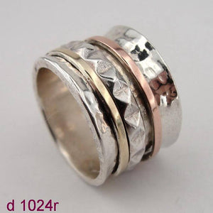 ISRAEL Fabulous Handcrafted 9K Yellow Gold 925 Silver Swivel Ring gift ,ring, swivel ring Size 8 (d 1024r)