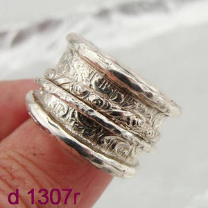 Unisex Fine New 925 Sterling Silver Swivel Wide Band braid Ring size 8 His and hers wedding rings. mens wedding band, ready to ship (d1307r