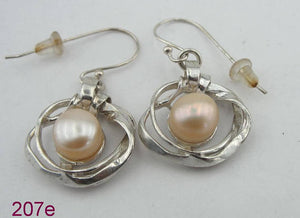 Great handcrafted Sterling Silver long rose Pearl Earrings (207e