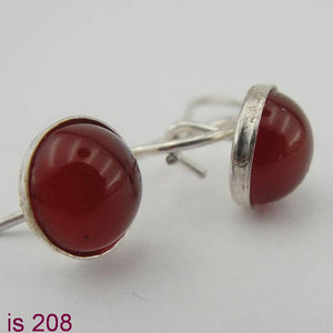 Silver Earrings with garnet gemstones (is 208)