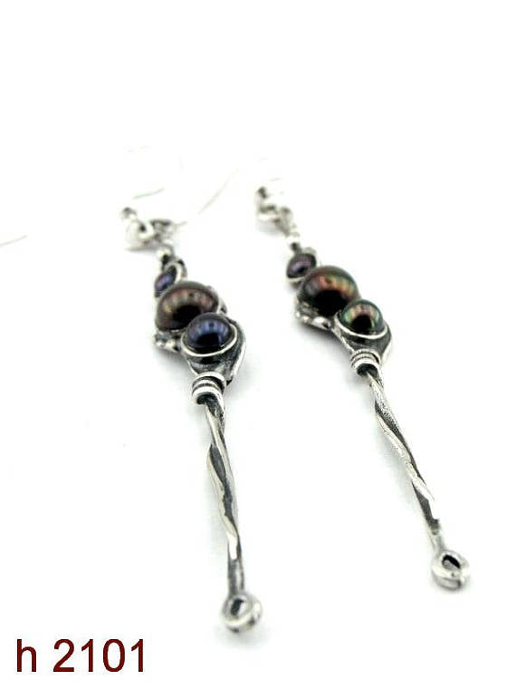 Hadar NEW Long Sterling Silver black pearl Earrings (H 2101)y