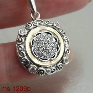 Silver & Gold necklace with white Zircon (ms 1209p)