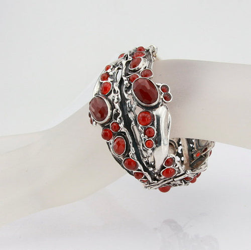 Great Carnelian (or opal , garnet and other gemstone) Wide Sterling Silver Bracelet , 925 (h 313b)