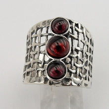 Sterling silver net texture and Garnet ring
