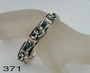 Great Israeli Fine Sterling Silver and Turquoise Link Bracelet (h371)