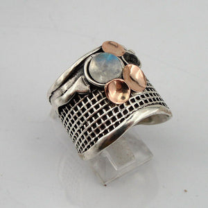 Stunning Fine 9K Yellow Gold Silver Moonstone Ring  (H g125)