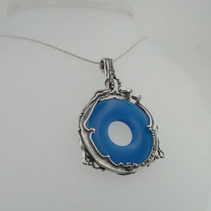 Large Sterling Silver Round Blue Agate Pendant