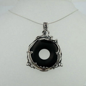 Hadar handcrafted Large Sterling Silver Onyx Pendant 494