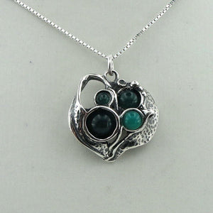 Handmade Sculpted Sterling Silver and Green Agate Pendant (4118)