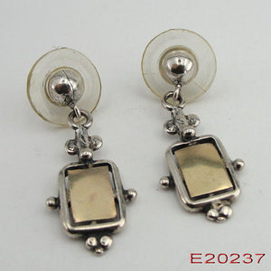 New Hand Crafted Israel Art Yellow Gold Silver Earrings e20237