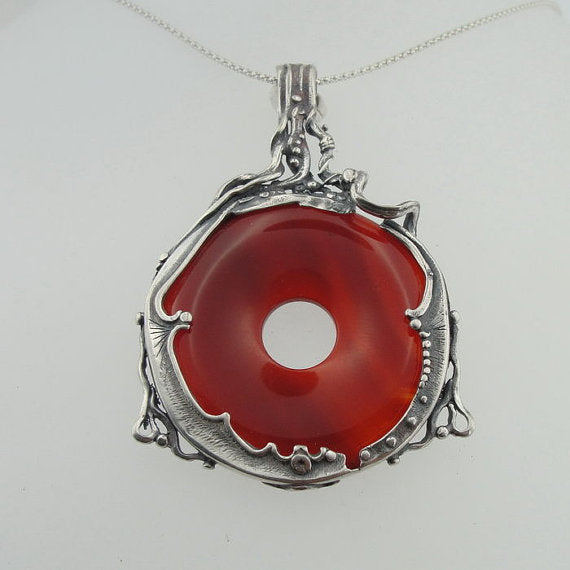 Natural Big Red Carnelian in a solid sterling silver pendant