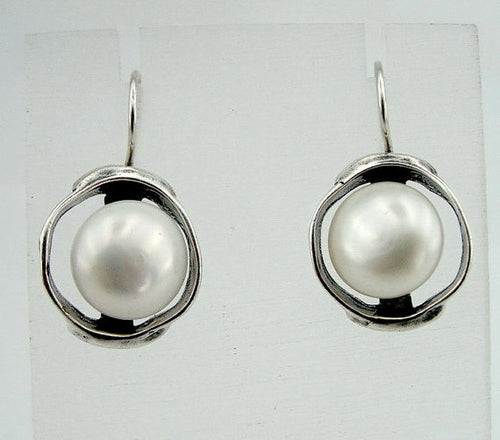 Sterling Silver Round Pearl Earrings (di 208)